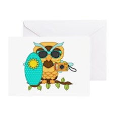 Surfing Boy Owl Greeting Cards (Pk of 20)