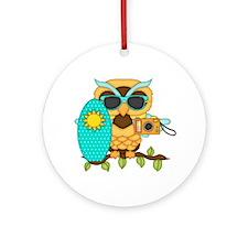Surfing Boy Owl Ornament (Round)