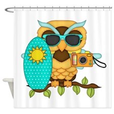 Surfing Boy Owl Shower Curtain