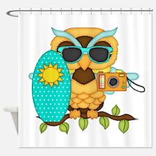Surfing Boy Owl Shower Curtain