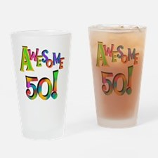 Awesome 50 Birthday Drinking Glass