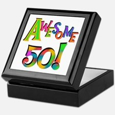 Awesome 50 Birthday Keepsake Box