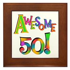 Awesome 50 Birthday Framed Tile