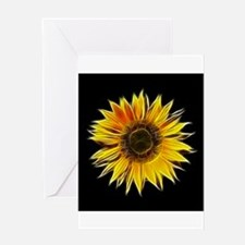 Fractal Sunflower Greeting Cards