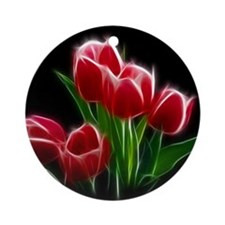 Tulip Flower Red Plant Ornament (Round)