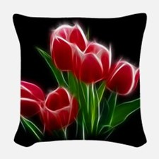 Tulip Flower Red Plant Woven Throw Pillow