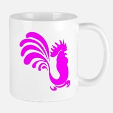Pink Rooster Silhouette Mugs