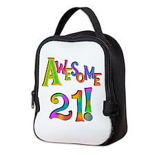 Awesome 21 Birthday Neoprene Lunch Bag