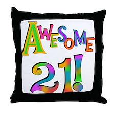 Awesome 21 Birthday Throw Pillow