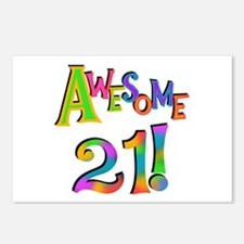 Awesome 21 Birthday Postcards (Package of 8)