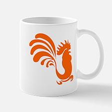 Orange Rooster Silhouette Mugs