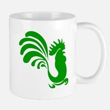 Green Rooster Silhouette Mugs