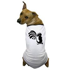 Black Rooster Silhouette Dog T-Shirt
