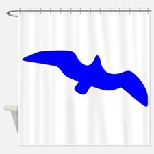 Blue Seagull Silhouette Shower Curtain