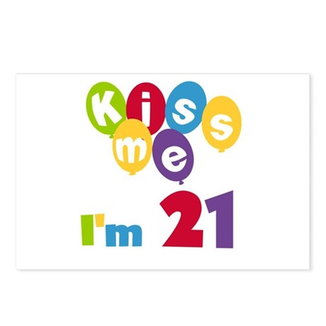 Kiss Me I'm 21 Postcards (Package of 8)