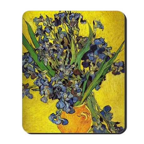 van gogh irises in vase Mousepad