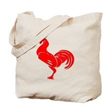 Red Rooster Silhouette Tote Bag