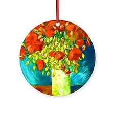 orange poppies van gogh Round Ornament