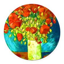 orange poppies van gogh Round Car Magnet