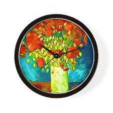 orange poppies van gogh Wall Clock