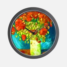 orange poppies van gogh Wall Clock
