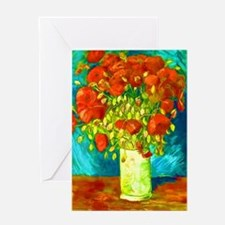 orange poppies van gogh Greeting Card