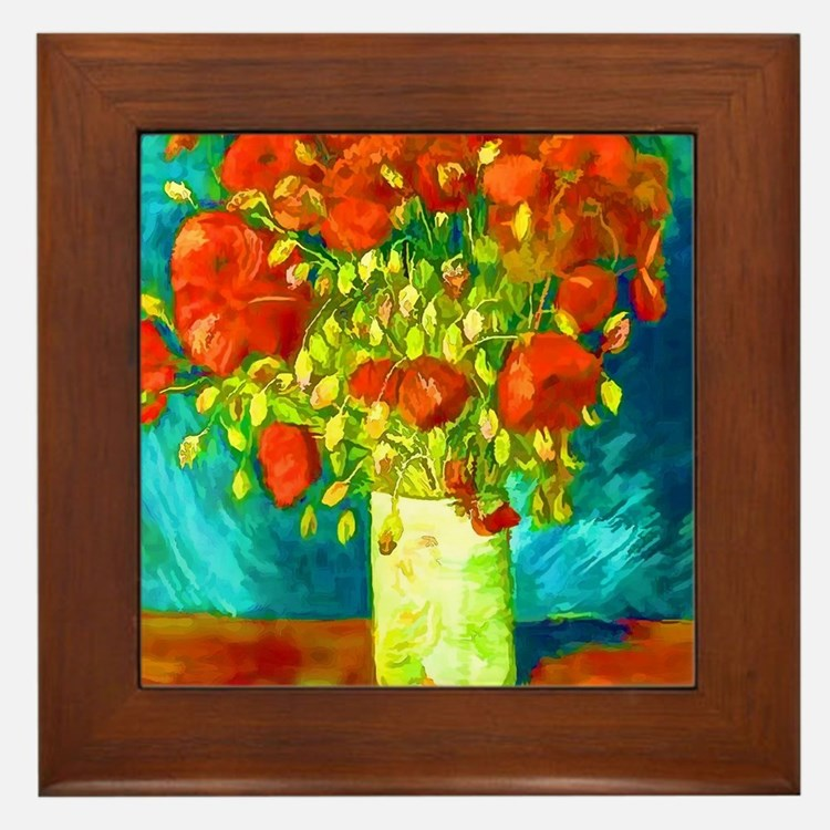 orange poppies van gogh Framed Tile