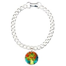 orange poppies van gogh Charm Bracelet, One Charm