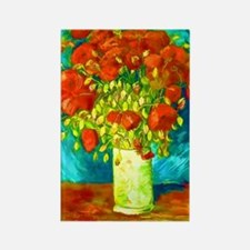 orange poppies van gogh Rectangle Magnet