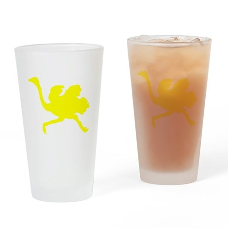 Yellow Ostrich Silhouette Drinking Glass