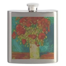 red poppies Flask