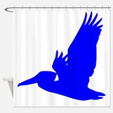 Blue Pelican Silhouette Shower Curtain
