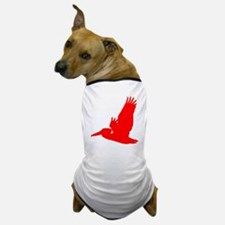 Red Pelican Silhouette Dog T-Shirt