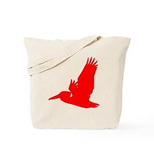 Red Pelican Silhouette Tote Bag