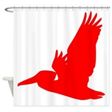 Red Pelican Silhouette Shower Curtain