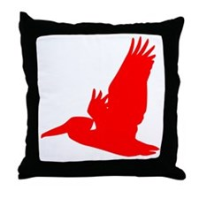 Red Pelican Silhouette Throw Pillow