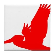 Red Pelican Silhouette Tile Coaster