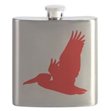 Red Pelican Silhouette Flask