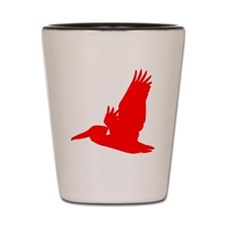 Red Pelican Silhouette Shot Glass