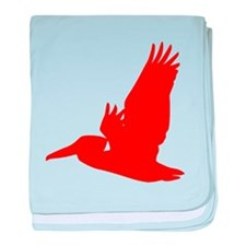 Red Pelican Silhouette baby blanket