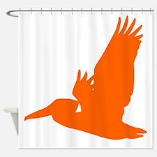 Orange Pelican Silhouette Shower Curtain