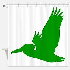 Green Pelican Silhouette Shower Curtain