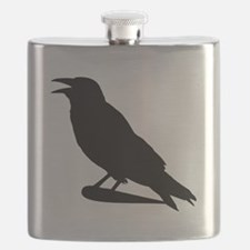 Black Crow Silhouette Flask