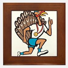 Turkey Run Runner Thumb Up Cartoon Framed Tile