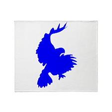 Blue Hawk Silhouette Throw Blanket