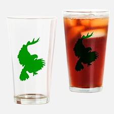 Green Hawk Silhouette Drinking Glass