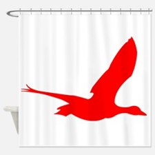 Red Stork Silhouette Shower Curtain