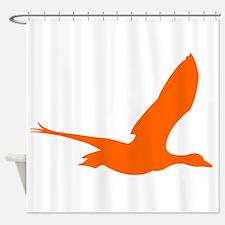Orange Stork Silhouette Shower Curtain