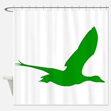 Green Stork Silhouette Shower Curtain