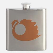 Orange Swan Silhouette Flask